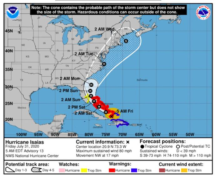 The watches and warnings in effect for Hurricane Isaias as of 5 a.m. EDT on Friday.