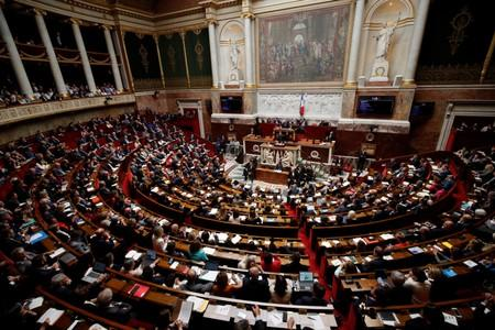 A general view shows the hemicycle as French Prime Minister Edouard Philippe delivers his second general policy speech at the National Assembly in Paris