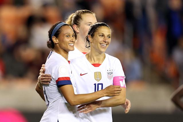 Carli Lloyd (10) has been a focal point of the USWNT's attack in Olympic qualifying, and that appears to be the plan for this summer too. (Photo by Omar Vega/Getty Images)
