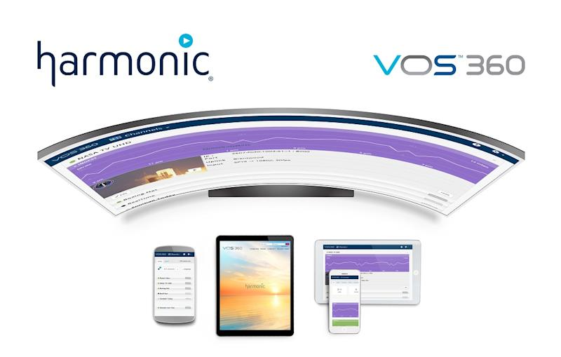 Curved screen with mobile devices and Harmonic logo.