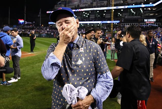 <p>Actor Bill Murray reacts on the field after the Chicago Cubs defeated the Cleveland Indians 8-7 in Game Seven of the 2016 World Series at Progressive Field on November 2, 2016 in Cleveland, Ohio. The Cubs win their first World Series in 108 years. (Photo by Ezra Shaw/Getty Images) </p>