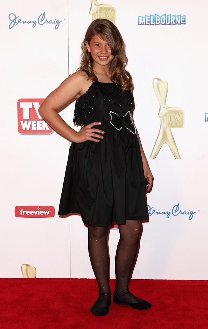 Bindi Irwin arrives on the red carpet ahead of the 2011 Logie Awards at Crown Palladium on May 1, 2011 in Melbourne, Australia. (Photo by Ryan Pierse/Getty Images)