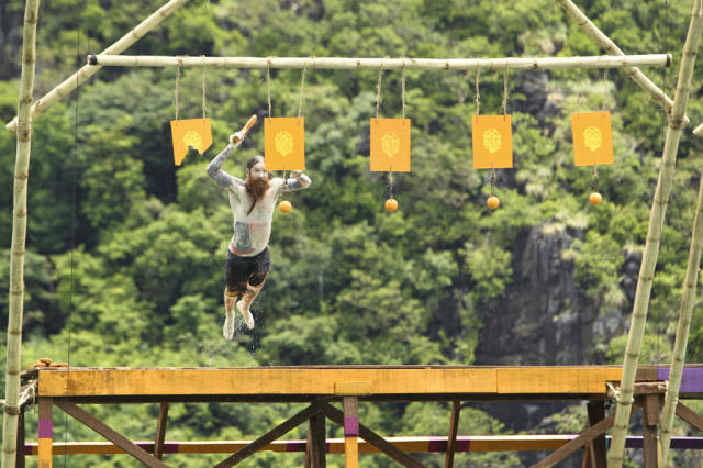 """Kill or be Killed"" - Matt Bischoff of the Gota Tribe competes in the Immunity Challenge during the fourth episode of ""Survivor: Caramoan - Fans vs. Favorites."""
