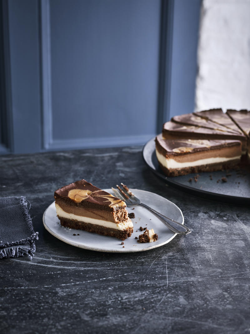 For dessert, treat yourself to a vegan salted caramel and chocolate cheesecake [Image: Caffè Nero]