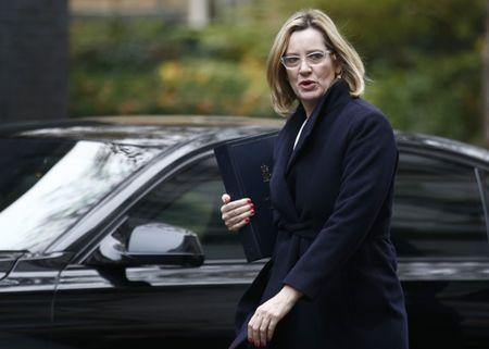 Britain's Home Secretary Amber Rudd arrives in Downing Street for a cabinet meeting, in London, November 15, 2016. REUTERS/Peter Nicholls