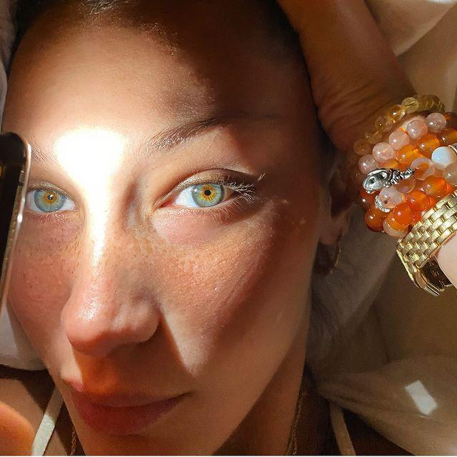 "<p>Supermodel Bella Hadid showed off her striking hazel and blue eyes in her latest make-up free selfie. Well, when you've got a face like that...</p><p><a href=""https://www.instagram.com/p/CENO9GGAdRr/?utm_source=ig_embed&utm_campaign=loading"" rel=""nofollow noopener"" target=""_blank"" data-ylk=""slk:See the original post on Instagram"" class=""link rapid-noclick-resp"">See the original post on Instagram</a></p>"