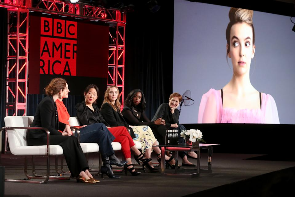 Executive producer Sally Woodward Gentle, writer/executive producer Phoebe Waller-Bridge, and actors Sandra Oh, Jodie Comer, Kirby Howell-Baptiste, and Fiona Shaw of Killing Eve