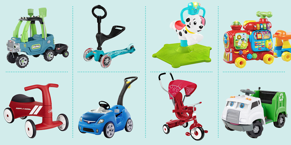 "<p>One of the joys of being a parent is watching little ones grow and develop, and gain a sense of independence and freedom as they mature. As little ones are learning to balance, stand up, and eventually walk, ride-on <a href=""https://www.goodhousekeeping.com/childrens-products/toy-reviews/g4695/best-kids-toys/"" rel=""nofollow noopener"" target=""_blank"" data-ylk=""slk:toys"" class=""link rapid-noclick-resp"">toys</a> can provide endless hours of play for kids. </p><p>Ride-ons can provide children with a great platform to develop gross and fine motor skills, refine balance, and help with coordination. They take many different forms: </p><ul><li><strong>Push ride-ons </strong>are great for young toddlers to be pushed by their parents or caregivers. </li><li><strong>Foot-to-floor</strong> models are a step up developmentally, in which the toddler moves the vehicle forward learning balance as they propel forward with their own legs. </li><li><strong>Pedal-powered toys </strong>(like a bike or trike) are the next step for kids who have mastered balance and are ready for more engagement.</li><li><strong>Motorized toys</strong> (power-assisted by battery or electric power) are designed to be used by older kids who can developmentally and physically handle these sorts of toys. </li></ul><p>The <a href=""https://www.goodhousekeeping.com/institute/about-the-institute/"" rel=""nofollow noopener"" target=""_blank"" data-ylk=""slk:Good Housekeeping Institute"" class=""link rapid-noclick-resp"">Good Housekeeping Institute</a> Little Lab has evaluated <a href=""https://www.goodhousekeeping.com/childrens-products/"" rel=""nofollow noopener"" target=""_blank"" data-ylk=""slk:thousands of toys"" class=""link rapid-noclick-resp"">thousands of toys</a> over the years, looking at safety, construction, and ultimately the deciding fun factor, to find the ones that both kids and parents will love. We promise these ride-on picks will provide hours of entertainment and development for <a href=""https://www.goodhousekeeping.com/holidays/gift-ideas/g1900/gifts-for-toddlers/"" rel=""nofollow noopener"" target=""_blank"" data-ylk=""slk:toddlers"" class=""link rapid-noclick-resp"">toddlers</a> and beyond:</p><ul><li><strong> Best Push Ride-On Toy</strong>: <a href=""https://www.amazon.com/dp/B008CO80SA?tag=syn-yahoo-20&ascsubtag=%5Bartid%7C10055.g.34425717%5Bsrc%7Cyahoo-us"" rel=""nofollow noopener"" target=""_blank"" data-ylk=""slk:Step2 Whisper Ride II Ride On Push Car"" class=""link rapid-noclick-resp"">Step2 Whisper Ride II Ride On Push Car</a></li><li><strong>Best Battery-Powered Ride-On Toy:</strong> <a href=""https://www.amazon.com/dp/B00IVDVX86?tag=syn-yahoo-20&ascsubtag=%5Bartid%7C10055.g.34425717%5Bsrc%7Cyahoo-us"" rel=""nofollow noopener"" target=""_blank"" data-ylk=""slk:Power Wheels Hot Wheels Jeep Wrangler"" class=""link rapid-noclick-resp"">Power Wheels Hot Wheels Jeep Wrangler</a></li><li><strong>Best Electric Ride-On Toy: </strong><a href=""https://www.amazon.com/dp/B088BBSVHK?tag=syn-yahoo-20&ascsubtag=%5Bartid%7C10055.g.34425717%5Bsrc%7Cyahoo-us"" rel=""nofollow noopener"" target=""_blank"" data-ylk=""slk:Kid Trax Real Rigs Toddler Recycling Truck"" class=""link rapid-noclick-resp"">Kid Trax Real Rigs Toddler Recycling Truck</a></li><li><strong>Best Action Ride-On Toy:</strong> <a href=""https://www.amazon.com/dp/B08J8G3K3N?tag=syn-yahoo-20&ascsubtag=%5Bartid%7C10055.g.34425717%5Bsrc%7Cyahoo-us"" rel=""nofollow noopener"" target=""_blank"" data-ylk=""slk:Step2 Up & Down Roller Coaster Rapid Ride & Hide Edition"" class=""link rapid-noclick-resp"">Step2 Up & Down Roller Coaster Rapid Ride & Hide Edition</a></li><li><strong>Best Grow-With-Child Ride-On Toy:</strong> <a href=""https://www.amazon.com/dp/B003AVIO4K?tag=syn-yahoo-20&ascsubtag=%5Bartid%7C10055.g.34425717%5Bsrc%7Cyahoo-us"" rel=""nofollow noopener"" target=""_blank"" data-ylk=""slk:Radio Flyer 4-in-1 Stroll 'N Trike"" class=""link rapid-noclick-resp"">Radio Flyer 4-in-1 Stroll 'N Trike</a><strong><br></strong></li><li><strong>Best Ride-On Toy for One-Year-Olds:</strong> <a href=""https://www.amazon.com/dp/B07P8FSPKS?tag=syn-yahoo-20&ascsubtag=%5Bartid%7C10055.g.34425717%5Bsrc%7Cyahoo-us"" rel=""nofollow noopener"" target=""_blank"" data-ylk=""slk:Radio Flyer Scoot About Sport"" class=""link rapid-noclick-resp"">Radio Flyer Scoot About Sport</a></li><li><strong>Best Ride-On Toy for Toddlers:</strong> <a href=""https://www.amazon.com/dp/B00ZCZU71U?tag=syn-yahoo-20&ascsubtag=%5Bartid%7C10055.g.34425717%5Bsrc%7Cyahoo-us"" rel=""nofollow noopener"" target=""_blank"" data-ylk=""slk:VTech Sit-to-Stand Ultimate Alphabet Train"" class=""link rapid-noclick-resp"">VTech Sit-to-Stand Ultimate Alphabet Train</a></li><li><strong>Best Ride-On Scooter:</strong> <a href=""https://www.amazon.com/dp/B01BE0JLT0/ref=twister_B07CQWQFJ3?tag=syn-yahoo-20&ascsubtag=%5Bartid%7C10055.g.34425717%5Bsrc%7Cyahoo-us"" rel=""nofollow noopener"" target=""_blank"" data-ylk=""slk:Micro Kickboard Mini 3in1 Deluxe"" class=""link rapid-noclick-resp"">Micro Kickboard Mini 3in1 Deluxe</a></li><li><strong>Best Stationary Ride-On Toy: </strong><a href=""https://www.amazon.com/dp/B07MJCN7HZ?tag=syn-yahoo-20&ascsubtag=%5Bartid%7C10055.g.34425717%5Bsrc%7Cyahoo-us"" rel=""nofollow noopener"" target=""_blank"" data-ylk=""slk:Fisher-Price Bounce and Spin Puppy"" class=""link rapid-noclick-resp"">Fisher-Price Bounce and Spin Puppy</a><strong><br></strong></li><li><strong>Best Educational Ride-On Toy:</strong> <a href=""https://www.amazon.com/dp/B085JJ9QV3?tag=syn-yahoo-20&ascsubtag=%5Bartid%7C10055.g.34425717%5Bsrc%7Cyahoo-us"" rel=""nofollow noopener"" target=""_blank"" data-ylk=""slk:Little Tikes Go Green! Cozy Truck with Trailer & Garden Tools"" class=""link rapid-noclick-resp"">Little Tikes Go Green! Cozy Truck with Trailer & Garden Tools</a><br></li></ul>"