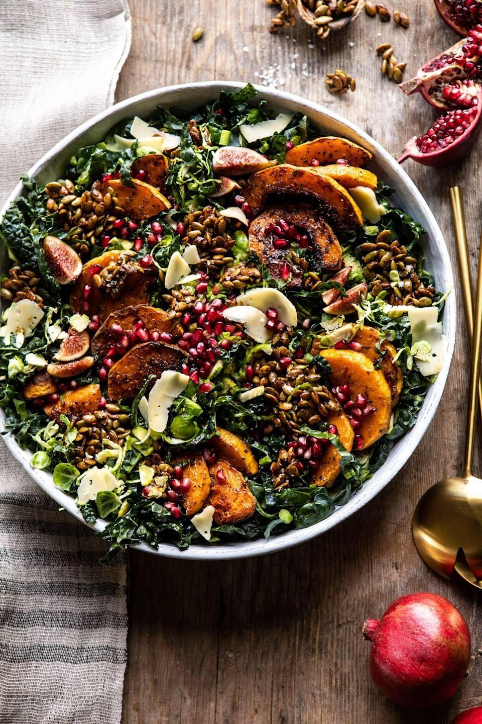 "<p>Step up your salad game with the help of this zesty recipe. You can expect to taste sweet butternut squash, roasted pumpkin seeds, shredded brussels sprouts, and tangy pomegranates when you bite into this elevated dish. </p> <p><strong>Get the recipe</strong>: <a href=""https://www.halfbakedharvest.com/roasted-butternut-squash-and-pomegranate-salad/"" class=""link rapid-noclick-resp"" rel=""nofollow noopener"" target=""_blank"" data-ylk=""slk:fall harvest roasted butternut squash and pomegranate salad"">fall harvest roasted butternut squash and pomegranate salad</a></p>"