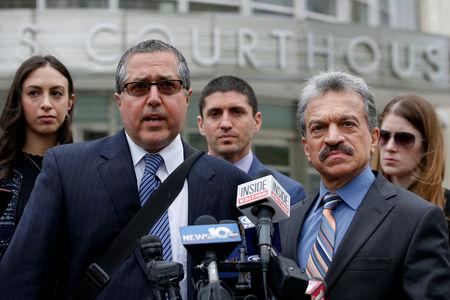 FILE PHOTO: Attorneys representing Nxivm leader Keith Raniere, Marc Agnifilo and Paul DerOhannesian, speak during a news conferrence following a hearing at United States Federal Courthouse in Brooklyn, New York