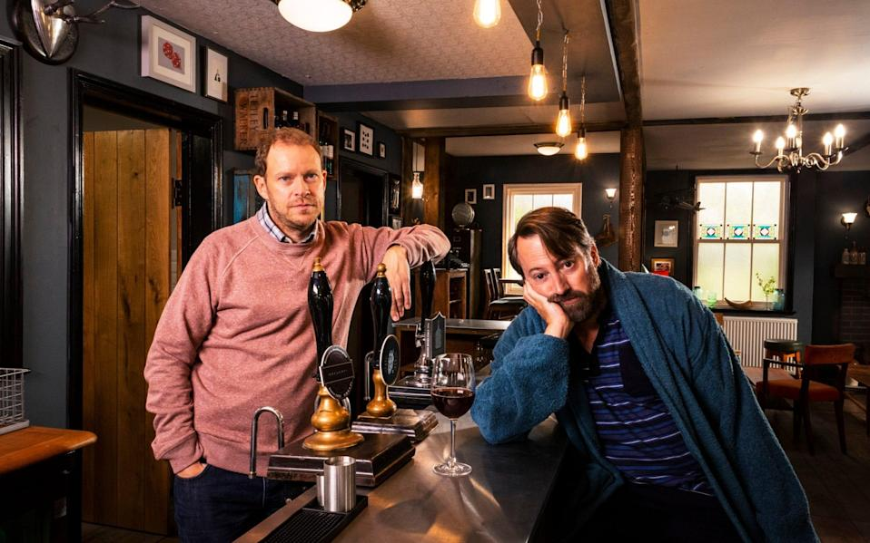 Robert Webb and David Mitchell as sparring publicans in Back - BBC