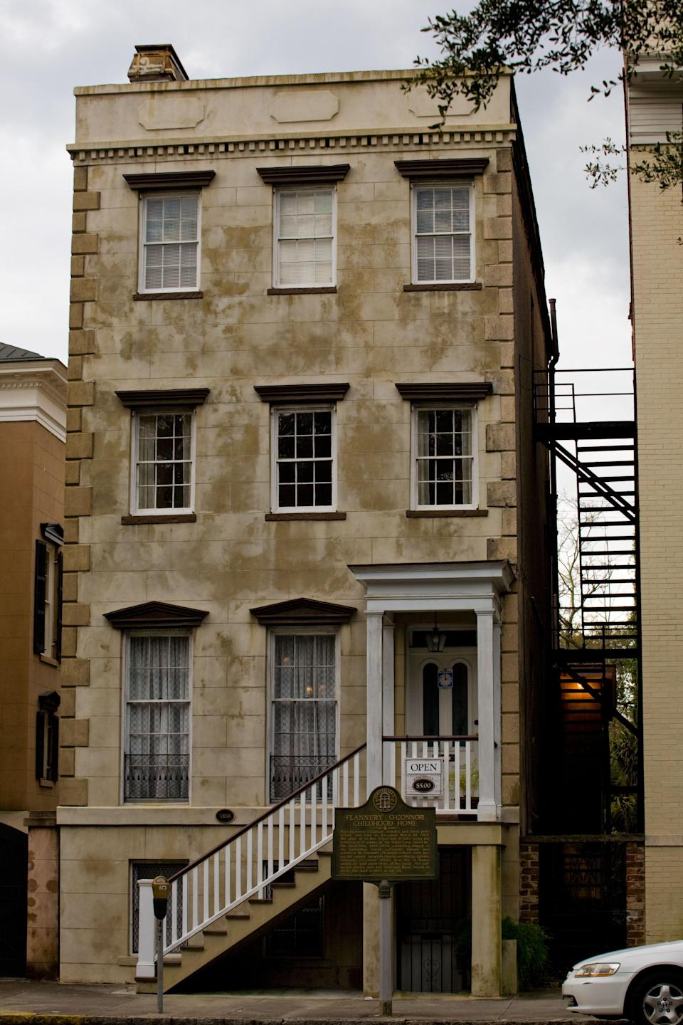 """<p><strong>What's this place all about?</strong> Savannah's favorite daughter, the great American writer Flannery O'Connor, was born in Savannah in 1925, and spent her childhood in a charming row house facing Lafayette Square. Though O'Connor didn't write her famed short story """"A Good Man Is Hard to Find"""" here, nor did she complete her classic novel """"Wise Blood,"""" her early years were not without significant accomplishment. Famously, young Mary Flannery taught a chicken to walk backwards in the walled backyard of this building. The eccentric spirit of O'Connor and her work infuses the museum today, which is just about as weird as you'd expect. It's also as fun as a restored Depression-era writer's home could possibly be. The O'Connor quote that figures prominently on its website—as well as some merch sold inside—sums it up: """"Whenever I'm asked why Southern writers particularly have a penchant for writing about freaks, I say it is because we are still able to recognize one.""""</p> <p><strong>What will we see here?</strong> Built in 1856, the multilevel Greek Revival home is filled with artifacts from O'Connor's life as well as period decor, including refurbished chandeliers in the parlor and original heart-pine flooring. You'll see O'Connor's crib, some drawings she made in college, and a room of rare books; a rear kitchen overlooks the beautiful backyard garden, and front windows afford a view of the Cathedral of Saint John the Baptist, where O'Connor attended church. There aren't rotating exhibits, but the museum does keep up a robust schedule of lectures and readings, recently updated to become virtual events. If you're here in late March, don't miss the museum's celebration of O'Connor's birthday, which features a parade and street fair out front in Lafayette Square. A pure expression of the old weird Savannah, the event includes a raucous marching band, a peacock-decorated birthday cake, folks in costume, and a game of chickenshit bingo. What's chickenshit bingo? Y"""