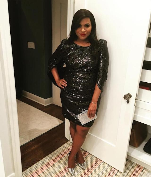 """<p>Mindy Kaling snagged a shot of herself all glammed up on what must have been a bittersweet evening for her. """"'A little less conversation a little more action' is how I would describe my look for the FINAL #themindyproject premiere party!"""" she captioned it. (Photo: <a href=""""https://www.instagram.com/p/BY9uGePlX0n/?hl=en&taken-by=mindykaling"""" rel=""""nofollow noopener"""" target=""""_blank"""" data-ylk=""""slk:Mindy Kaling via Instagram"""" class=""""link rapid-noclick-resp"""">Mindy Kaling via Instagram</a>) </p>"""
