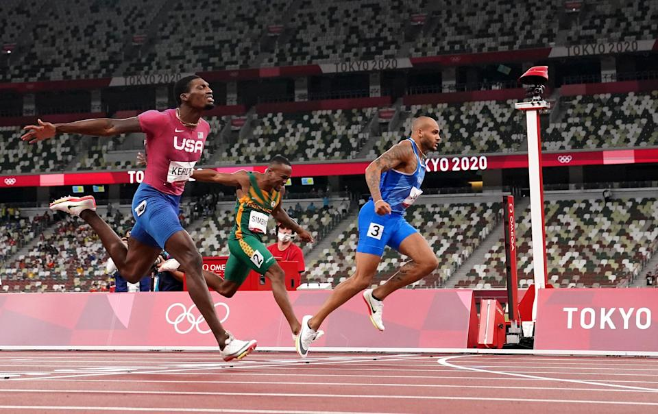 Italy's Lamont Marcell Jacobs wins the 100m in Tokyo. (Martin Rickett/PA) (PA Wire)