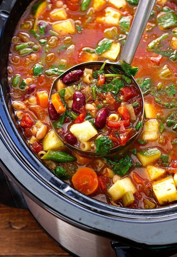 """<p>Make a giant batch in your crockpot and you'll have leftovers for the week.</p><p>Get the recipe from <a href=""""http://littlespicejar.com/homemade-minestrone-soup-slow-cooker/"""" rel=""""nofollow noopener"""" target=""""_blank"""" data-ylk=""""slk:Little Spice Jar"""" class=""""link rapid-noclick-resp"""">Little Spice Jar</a>.</p>"""