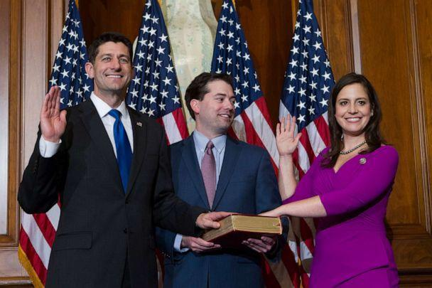 PHOTO: House Speaker Paul Ryan administers the House oath of office to Rep. Elise Stefanik during a mock swearing in ceremony on Capitol Hill, Jan. 3, 2017. (Jose Luis Magana/AP, FILE)