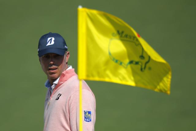 Matt Kuchar of the U.S. looks to the flag pole on the second green during second round play of the 2018 Masters golf tournament at the Augusta National Golf Club in Augusta, Georgia, U.S., April 6, 2018. REUTERS/Brian Snyder