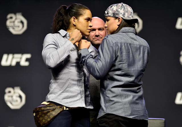 Amanda Nunes and Raquel Pennington face off during the UFC press conference inside Barclays Center on April 6, 2018 in Brooklyn, New York. (Getty)