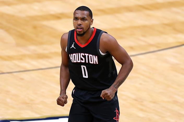 NEW ORLEANS, LOUISIANA - JANUARY 30: Sterling Brown #0 of the Houston Rockets reacts against the New Orleans Pelicans during a game at the Smoothie King Center on January 30, 2021 in New Orleans, Louisiana. NOTE TO USER: User expressly acknowledges and agrees that, by downloading and or using this Photograph, user is consenting to the terms and conditions of the Getty Images License Agreement. (Photo by Jonathan Bachman/Getty Images)