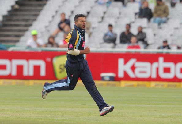 CAPE TOWN, SOUTH AFRCA - OCTOBER 18:  Azeem Rafiq of Yorkshire Carnegie celebrates during the Karbonn Smart CLT20 match between Mumbai Indians (IPL) and Yorkshire (England) at Sahara Park Newlands on October 18, 2012 in Cape Town, South Africa. (Photo by Carl Fourie / Gallo Images /Getty Images)
