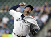 Seattle Mariners starting pitcher Felix Hernandez throws to a Chicago Cubs batter during the first inning of a baseball game Tuesday, April 30, 2019, in Seattle. (AP Photo/Elaine Thompson)