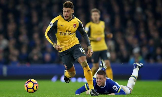 """<span class=""""element-image__caption"""">Alex Oxlade-Chamberlain is 'on an upward curve', says Arsène Wenger.</span> <span class=""""element-image__credit"""">Photograph: Clive Brunskill/Getty Images</span>"""