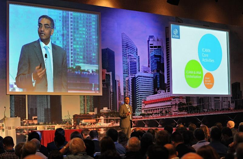 Fadi Chehade, president of the Internet Corporation for Assigned Names and Numbers (ICANN), pictured at an event in Singapore, said the end of the US role is now set for mid-2016, with the transition pushed back by a year (AFP Photo/Roslan Rahman)