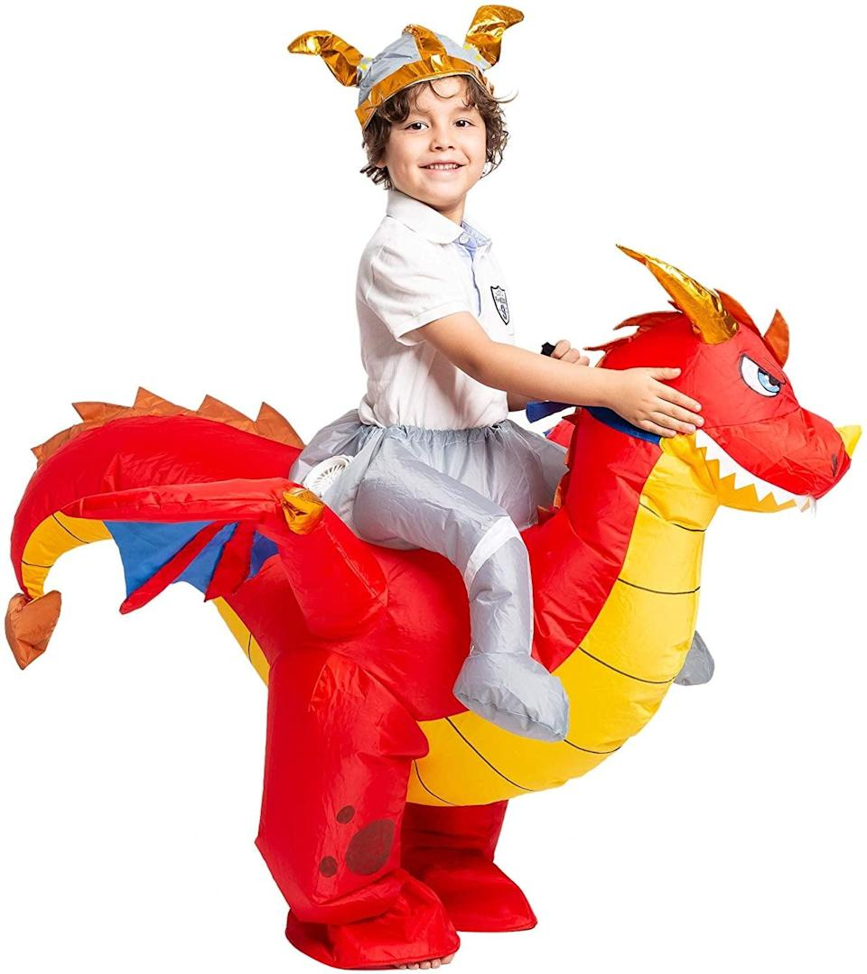 <p>We're wondering if the <span>Spooktacular Creations Inflatable Dragon Riding a Fire Halloween Costume </span> ($28) actually breathes fire or not! Aren't you?</p>