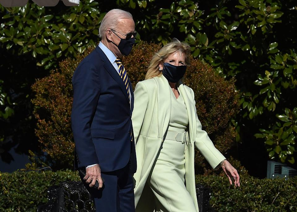 """<p>The Biden family has shown their loyalty to the Brandon Maxwell brand since stepping into the White House - and for good reason. Choosing this mint set for an event in the Rose Garden of the White House before departing for Delaware in March 2021, Biden pledged her allegiance to the LGBTQ+ owned label. You probably also know Maxwell's name as he's associated with being <a class=""""link rapid-noclick-resp"""" href=""""https://www.popsugar.com/Lady-Gaga"""" rel=""""nofollow noopener"""" target=""""_blank"""" data-ylk=""""slk:Lady Gaga"""">Lady Gaga</a>'s stylist and a <strong>Project Runway</strong> fixture for 16 years. Maxwell has made strides towards inclusivity and representation with his fashion house and his monochrome sheaths take sophistication to the next level.</p>"""