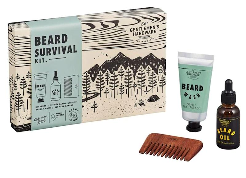 """You have kids, so chances are at least one of you has a beard. Keep it groomed with this kit from <a href=""""https://www.thebay.com/gentlemens-hardware-beard-survival-kit/product/0600091366656?R=5055923763940&amp;P_name=Gentlemens+Hardware&amp;N=302027144&amp;FOLDER%3C%3Efolder_id=2534374302027144&amp;bmUID=mX_i08i"""" target=""""_blank"""" rel=""""noopener noreferrer"""">The Bay</a>, $22.10."""
