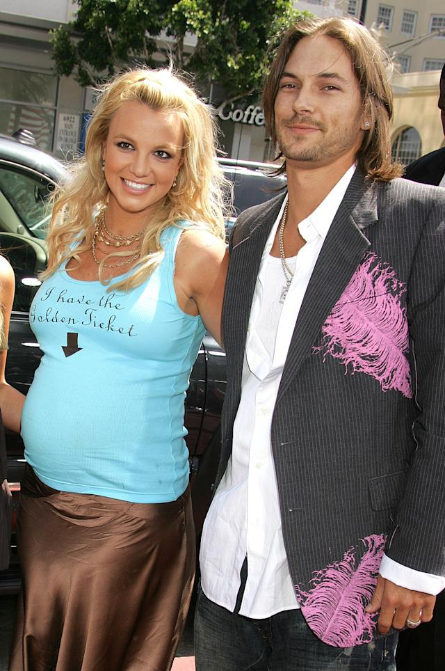 Mama-to-be Britney Spears with Kevin Federline at the <i>Charlie and the Chocolate Factory</i> premiere in 2005. (Photo: Jeffrey Mayer/WireImage)