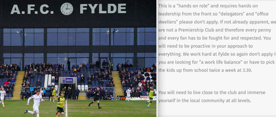 The job advert for General Manager at AFC Fylde has been met with a backlash on social media. (PA/Twitter)