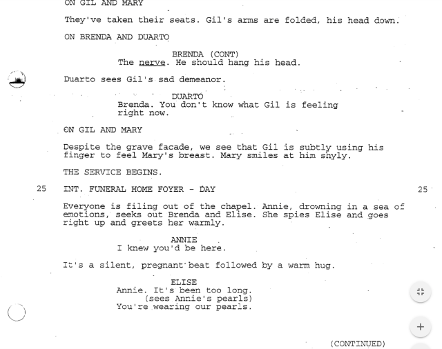 (Screenshot: First Wives Club script)