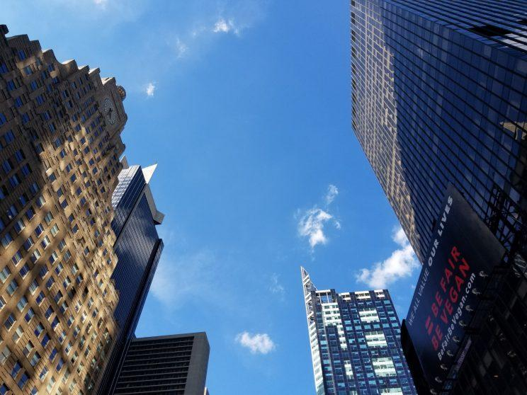 A photo of the sky over Times Square