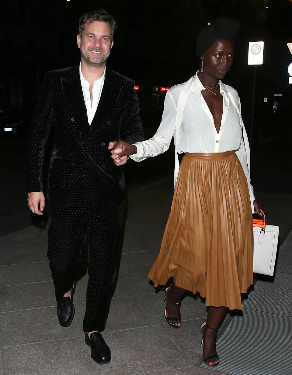 <p>Joshua Jackson and Jodie Turner-Smith get all glammed up for an evening out in Milan, Italy, on Sept. 23. </p>
