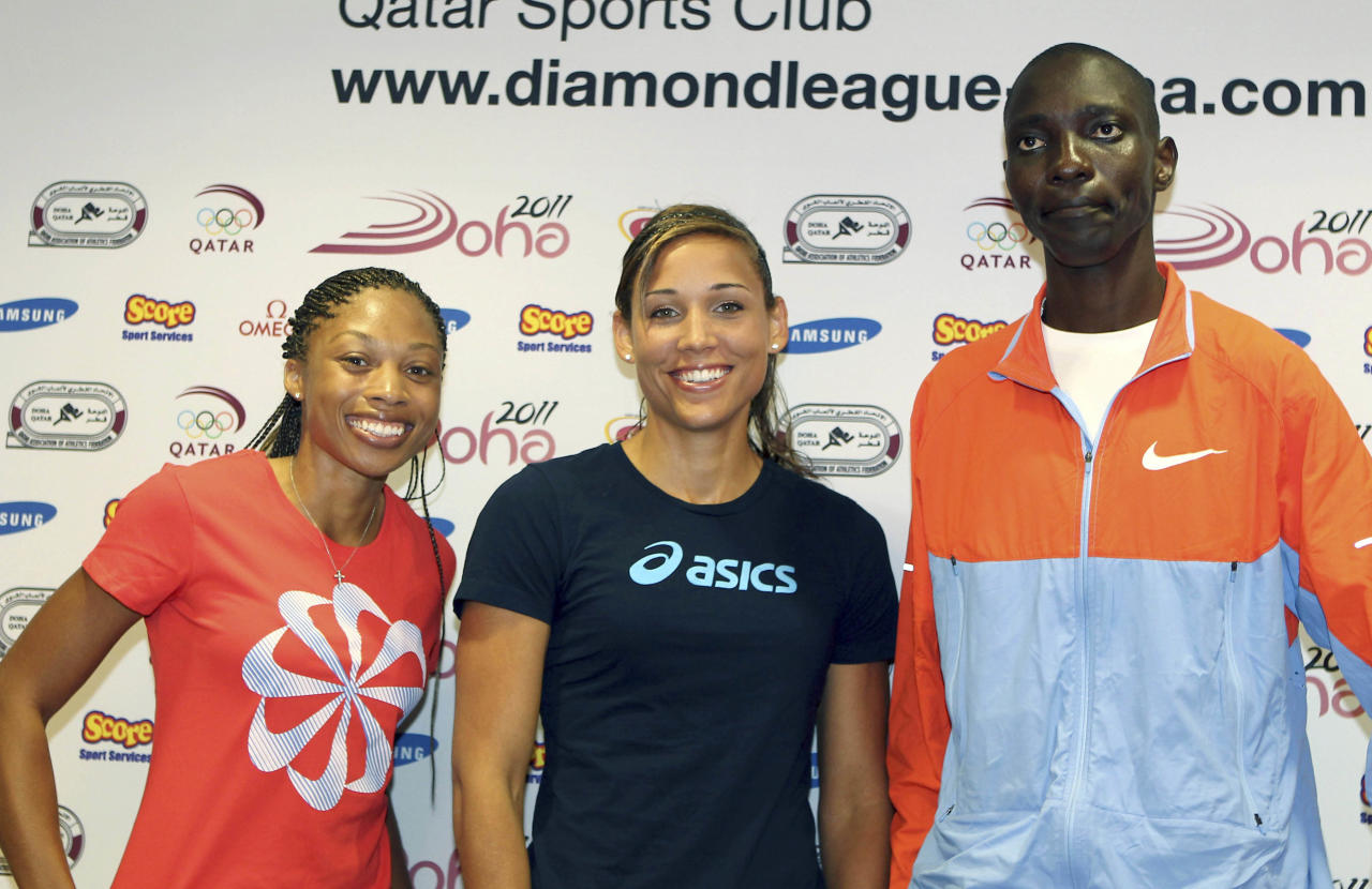 From US runner Allyson Felix, US hurdler Lolo Jones and Kenya's middle distance runner Asbel Kiprop, during a press conference on the eve of the IAAF Diamond League series in Doha, Thursday May 5, 2011.