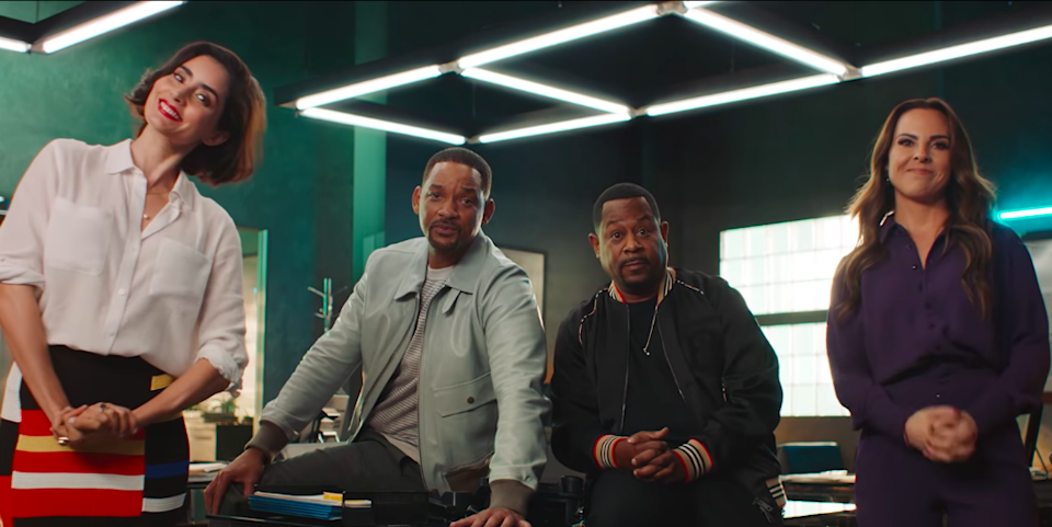 Paola Nuñez, Will Smith, Martin Lawrence y Kate del Castillo. Foto: YouTube/Sony Pictures Entertainment