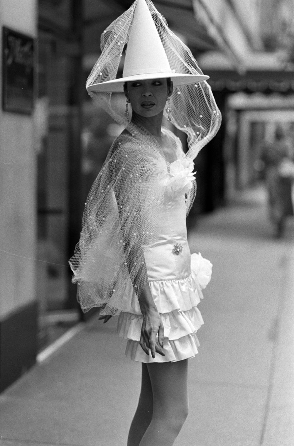A model poses in a bridal ensemble from Patrick Kelly's Made to Order for Martha, Inc., New York. - Credit: WWD