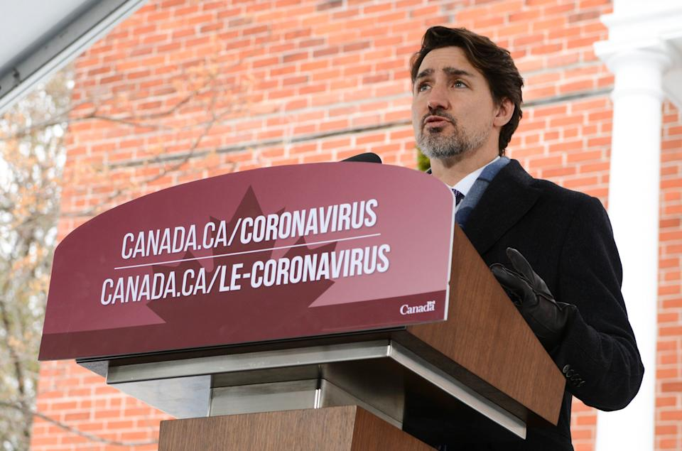 Prime Minister Justin Trudeau addresses media from Rideau Cottage in Ottawa on March 24, 2020.  (Photo: Sean Kilpatrick/THE CANADIAN PRESS)