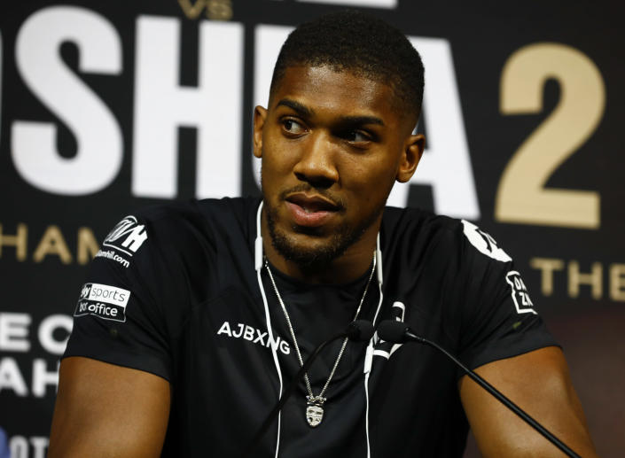 Anthony Joshua speaks to the media at a press conference on Sept. 5, 2019 in New York City. (Jeff Zelevansky/Getty Images)