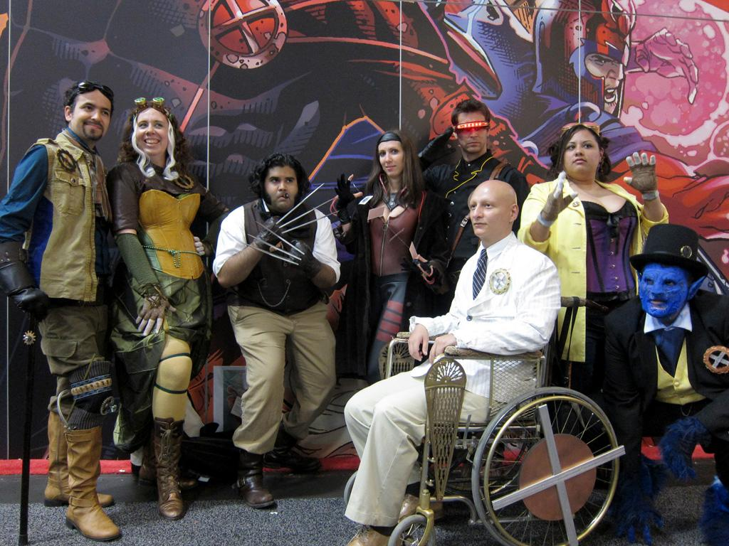 The steampunk X-Men pose for a team portrait - San Diego Comic-Con 2012