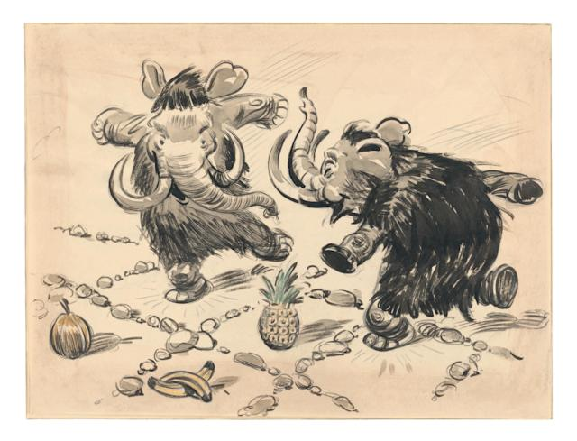 """<p>Ghez sets the scene: """"The very first outline of <i>Dumbo</i>, written by artists Joe Grant and Dick Huemer and submitted to Walt Disney in 1939, featured a total of 23 sequences. At the end of Sequence 4 the young Dumbo meets the mouse Timothy and Timothy is surprised to find out that Dumbo is not afraid of him, which leads to Sequence 5, 'The Mouse's Tale.'""""<br>(Credit: James Bodrero/Disney/Chronicle Books) </p>"""