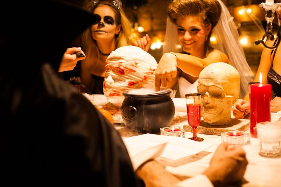 """<p>Forgo a night on the town in favor of a ghouls' night in Halloween party. <a href=""""https://www.oprahmag.com/life/g28436280/games-to-play-with-friends/"""" rel=""""nofollow noopener"""" target=""""_blank"""" data-ylk=""""slk:Play a boardgame"""" class=""""link rapid-noclick-resp"""">Play a boardgame</a> or whip out the old Ouija board and serve up some <a href=""""https://www.oprahmag.com/life/food/g28776469/halloween-party-food/"""" rel=""""nofollow noopener"""" target=""""_blank"""" data-ylk=""""slk:mummy pizza"""" class=""""link rapid-noclick-resp"""">mummy pizza</a>. You can't go wrong when you're in good company.</p><p> <a class=""""link rapid-noclick-resp"""" href=""""https://www.amazon.com/GIFTEXPRESS-Black-Cauldron-MADE-USA/dp/B01256VXNO?tag=syn-yahoo-20&ascsubtag=%5Bartid%7C10072.g.28787574%5Bsrc%7Cyahoo-us"""" rel=""""nofollow noopener"""" target=""""_blank"""" data-ylk=""""slk:SHOP CAULDRONS"""">SHOP CAULDRONS</a><br></p>"""