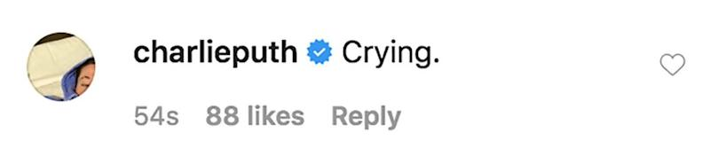 Charlie Puth's comment on Courteney Cox's Instagram post   Instagram
