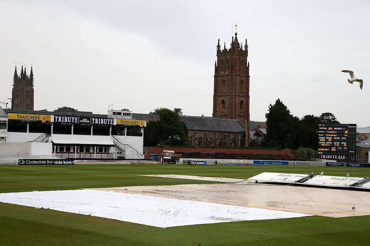 Rain stops play early on the second day at Taunton in match between Somerset and Australia, during the International Tour match at the County Ground, Taunton.