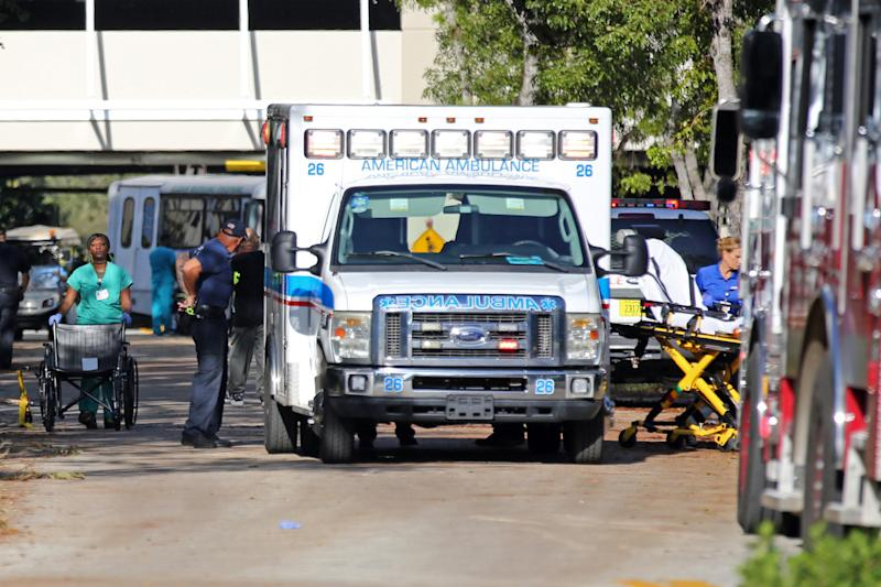 Patients are evacuated at the Rehabilitation Center at Hollywood Hills on Wednesday. (Sun Sentinel via Getty Images)