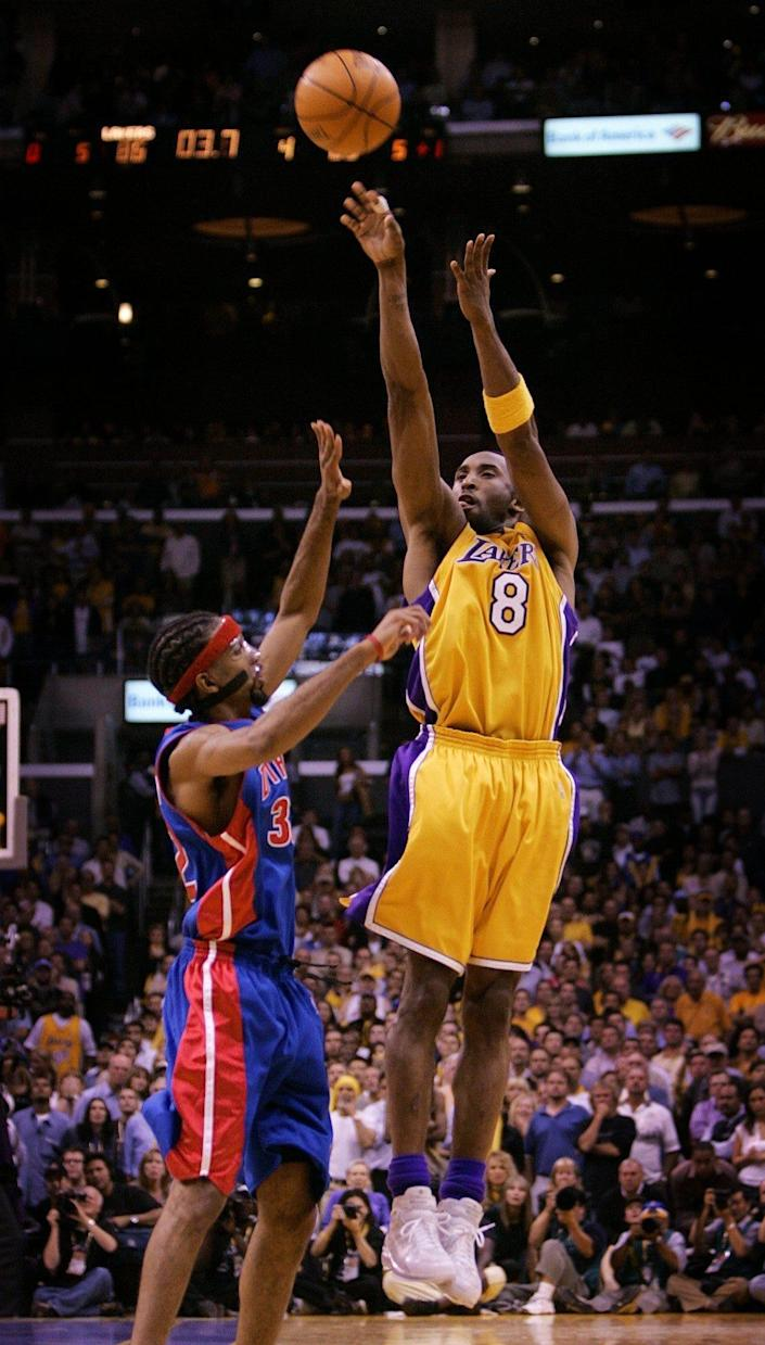 Kobe Bryant launches a game-tying 3 over Richard Hamilton with 2.1 seconds left in the fourth quarter of Game 2 in the NBA Finals in L.A., June 8, 2004.