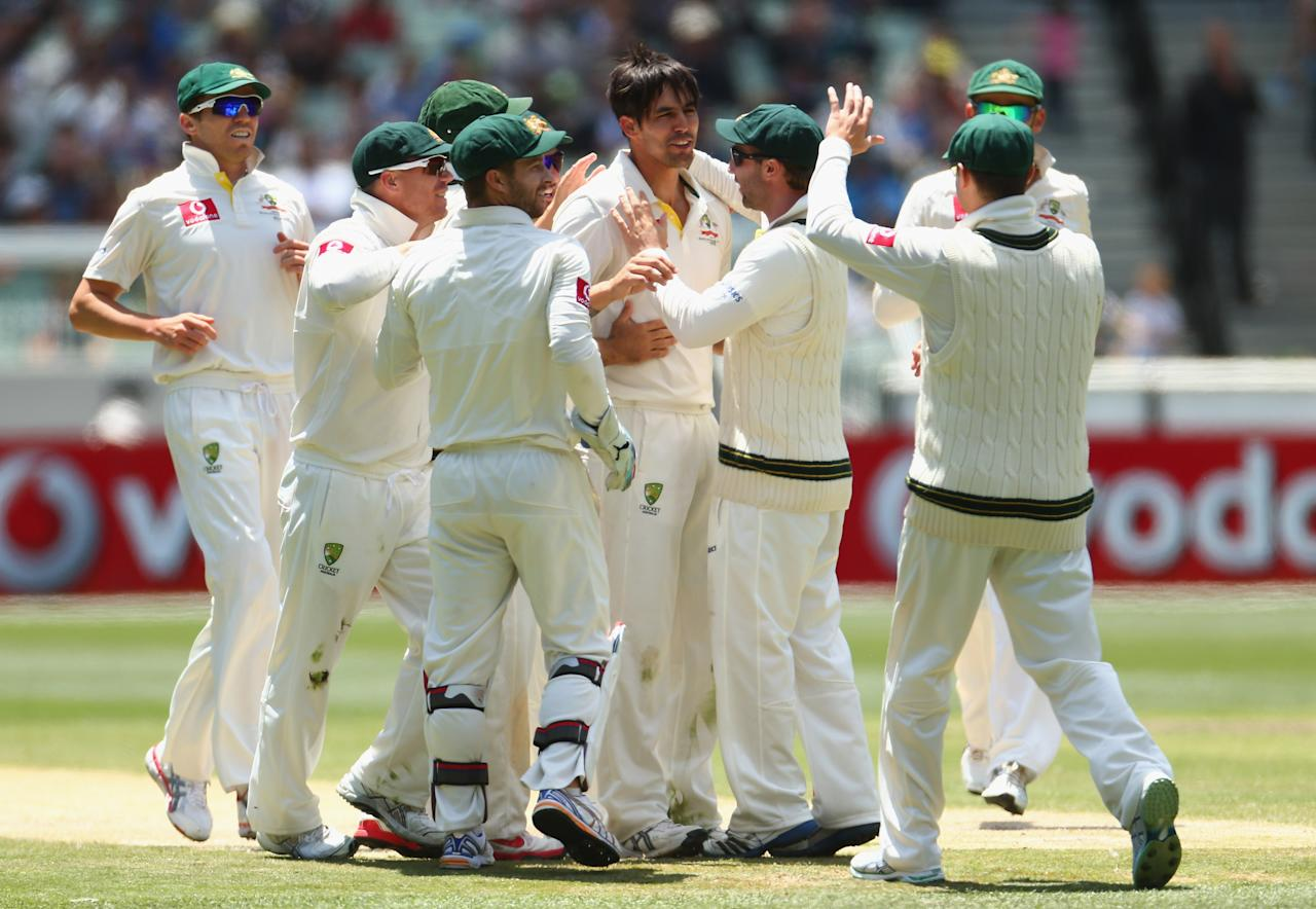 MELBOURNE, AUSTRALIA - DECEMBER 28: Mitchell Johnson of Australia celebrates the wicket of Angelo Mathews of Sri Lanka during day three of the Second Test match between Australia and Sri Lanka at Melbourne Cricket Ground on December 28, 2012 in Melbourne, Australia.  (Photo by Robert Cianflone/Getty Images)
