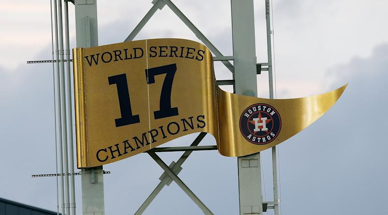 HOUSTON, TX - APRIL 02: Houston Astros unveil the 2017 World Series banner prior to playing the Baltimore Orioles at Minute Maid Park on April 2, 2018 in Houston, Texas. (Photo by Bob Levey/Getty Images)