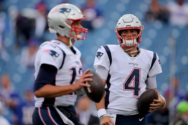 Jarrett Stidham takes over at quarterback for the New England Patriots after Tom Brady's historic run. (Photo by Brett Carlsen/Getty Images)